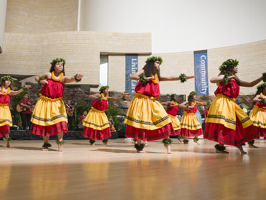 Hawaiian dancers performing in the Smithsonian's National Museum of the American Indian