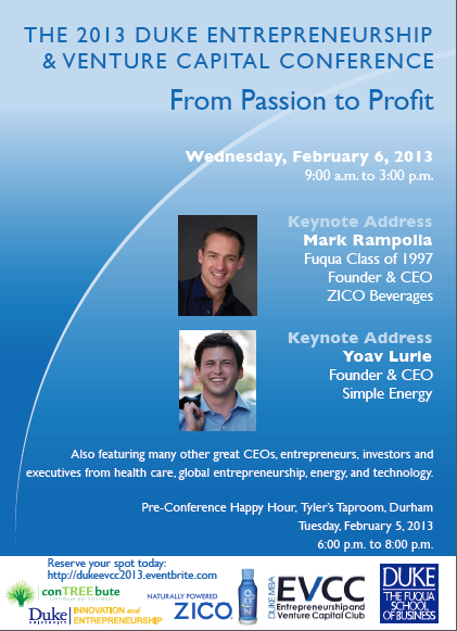 Save The Date_2013 Duke Entrepreneurship and Venture Capital Conference