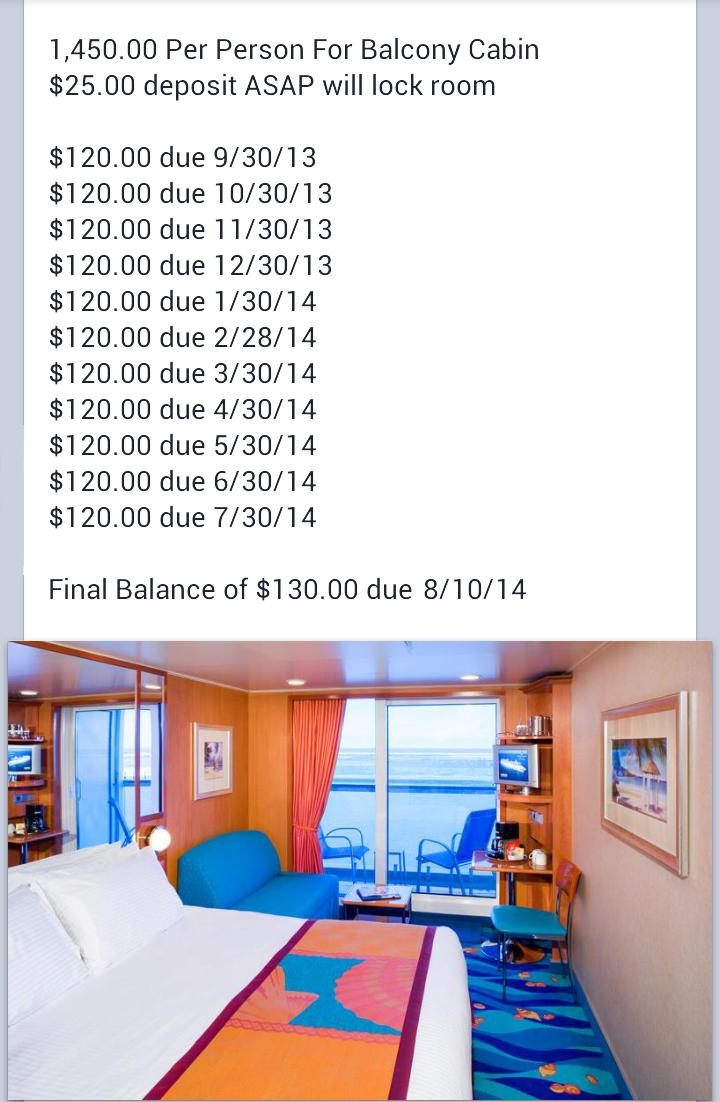 Balcony Cabin Schedule