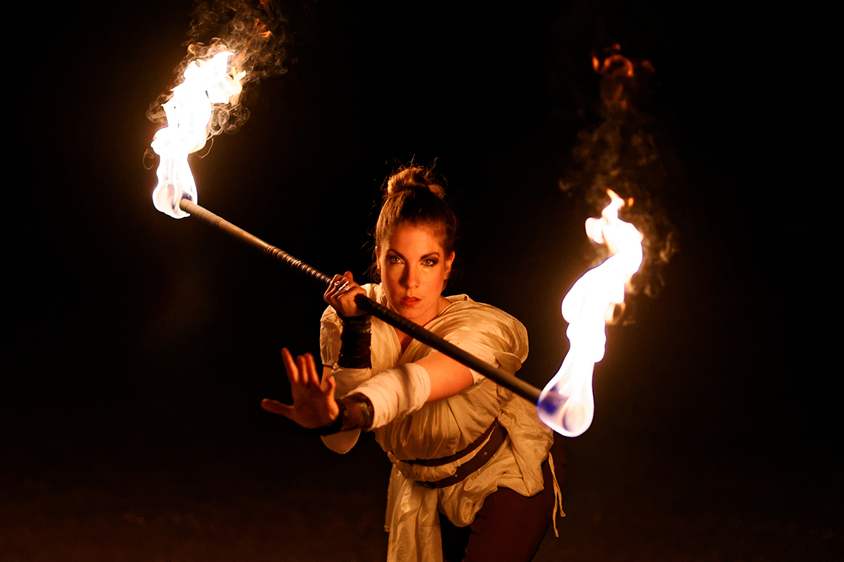 Rey with fire staff - Star Wars cosplay firespinning