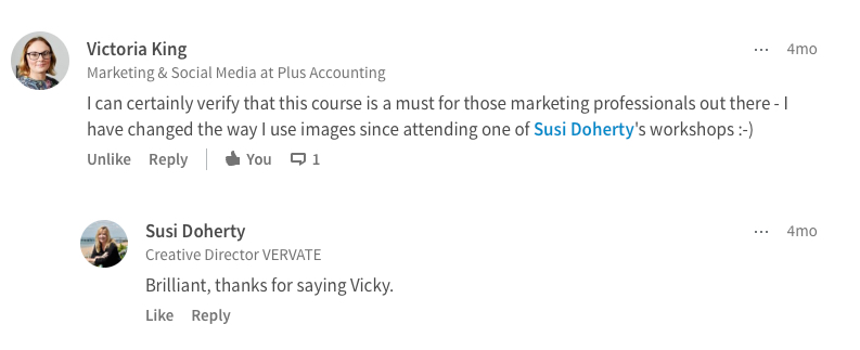 Screenshot of a complimentary comment about the workshop from a previous attendee