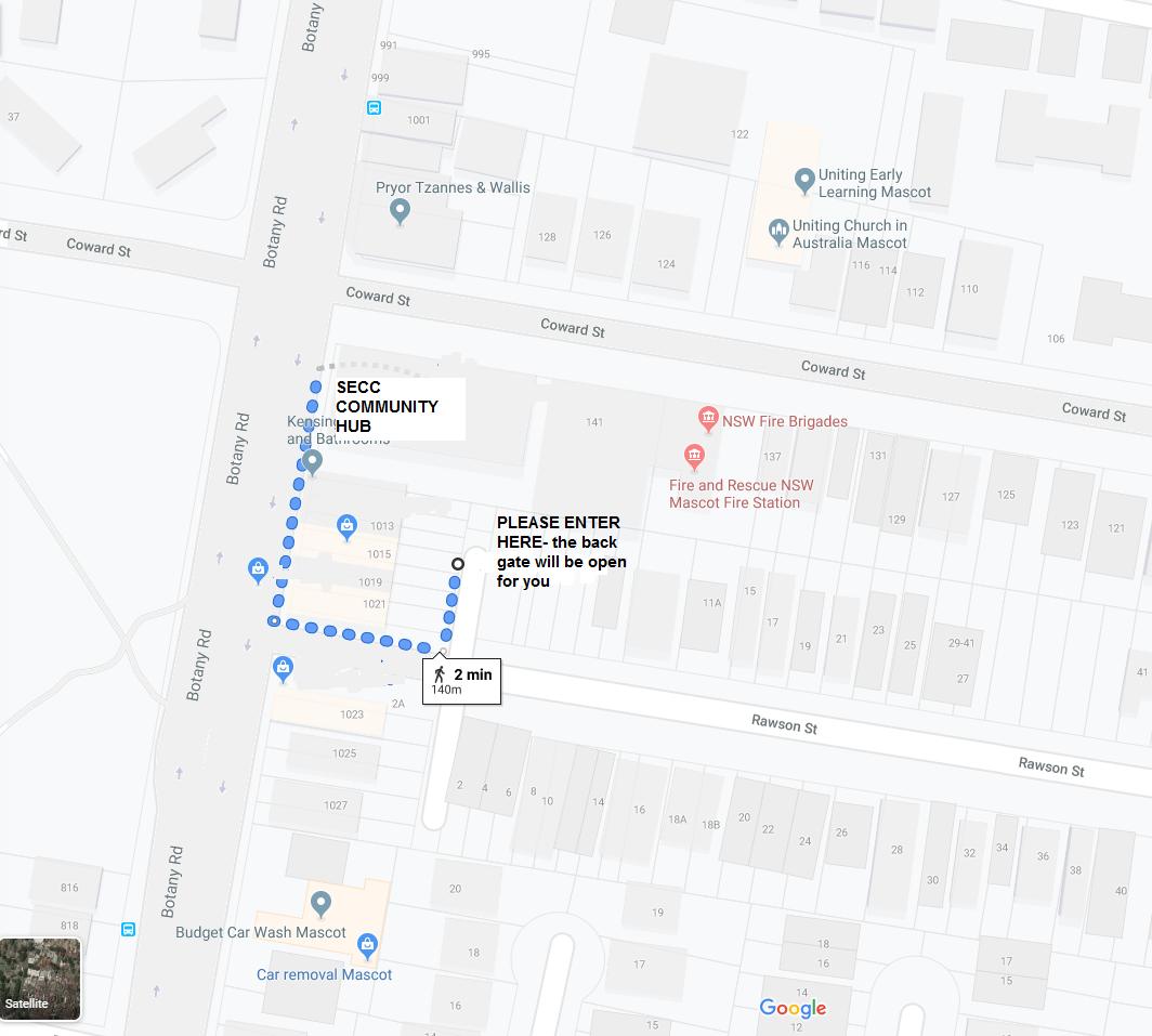 Entry via Rawson Lane map