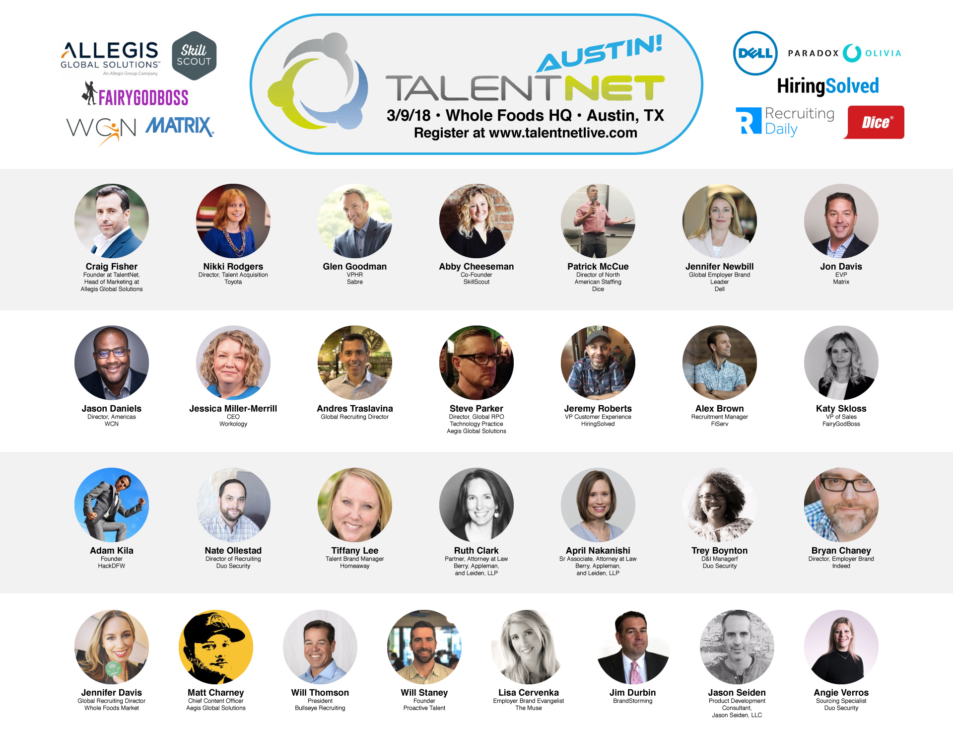 TalentNet Interactive 2018 Austin speakers