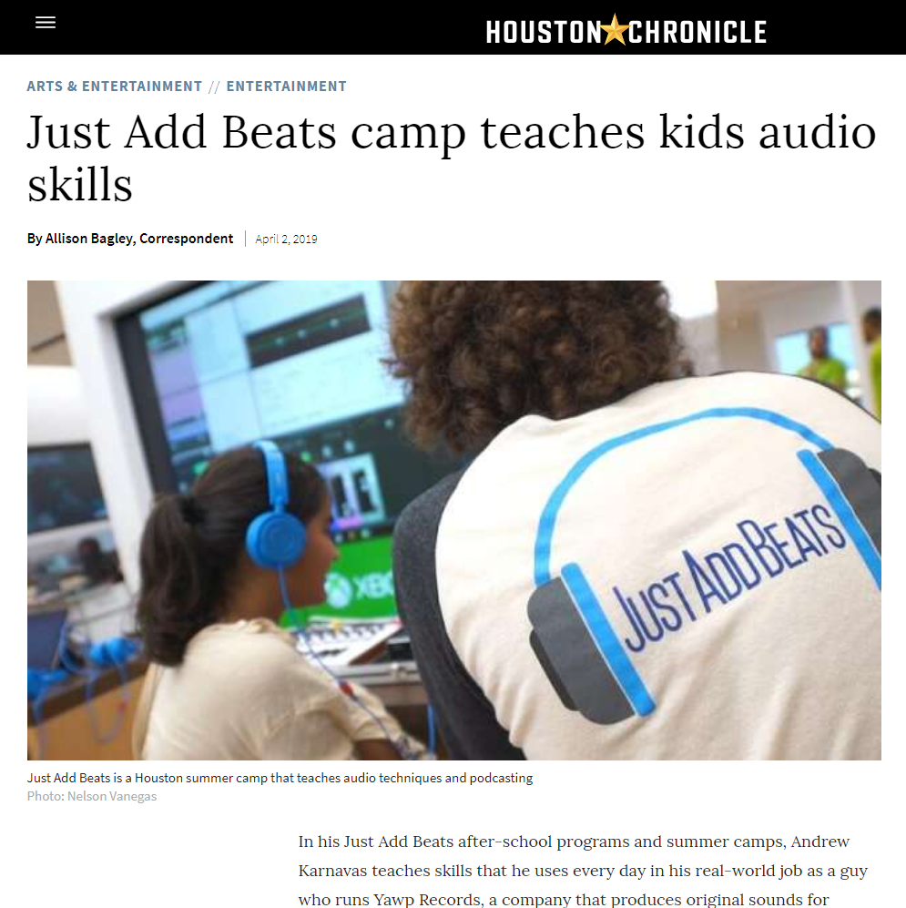 Just Add Beats featured in the Houston Chronicle