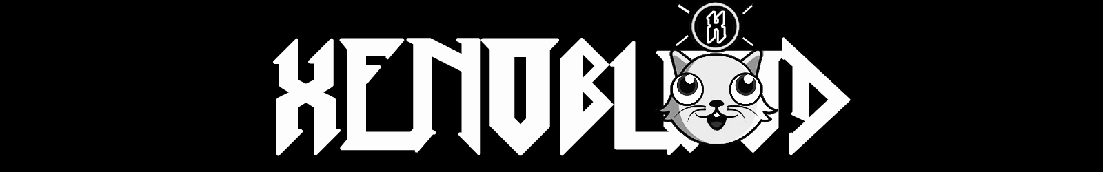 the word XENOBLOOD in a white angular font on a black background. A black and white animal face animation obscures the word with an X above its head.