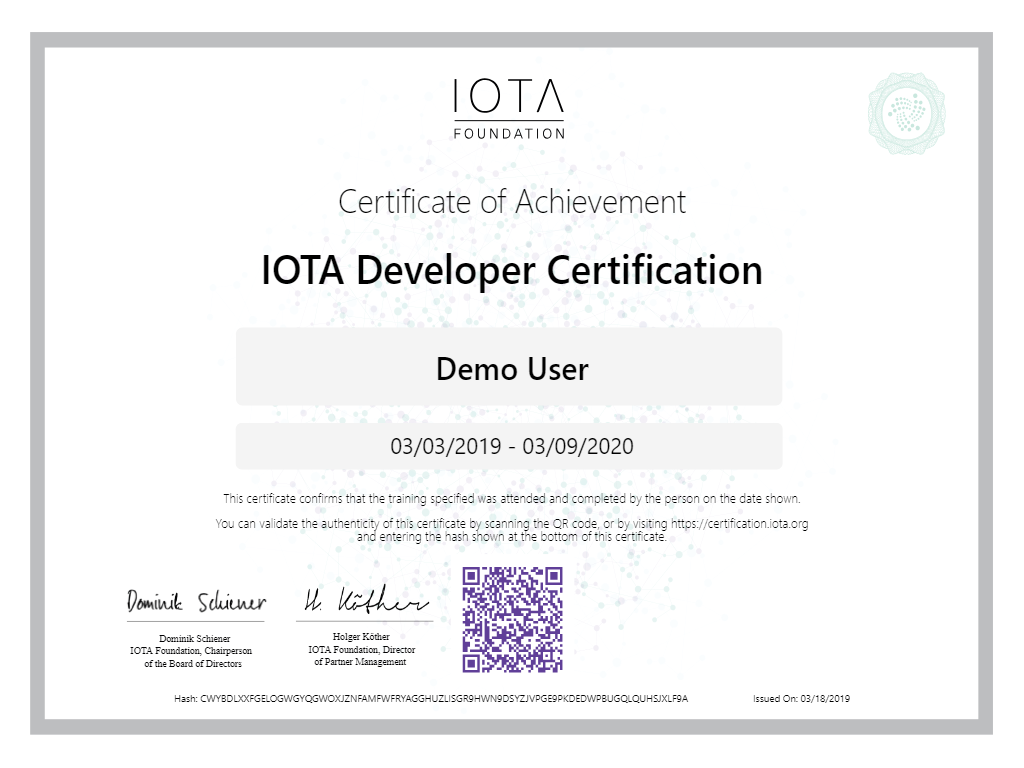 IOTA Demo-User Certificate