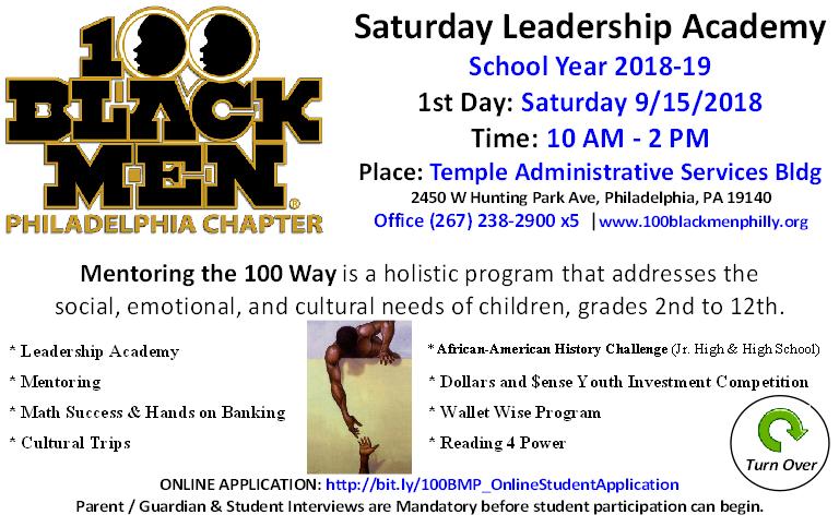 100 Black Men of Philadelphia Saturday Leadership Academey