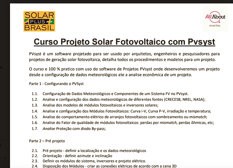 CURSO DE SOFTWARE PVSIST EM ENERGIA SOLAR