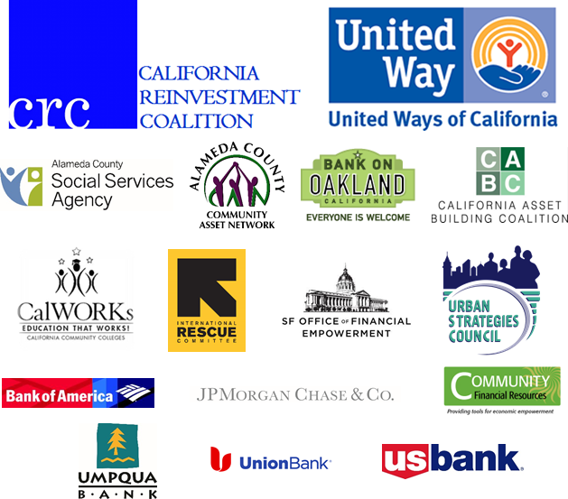 Logos of co-sponsors including: California Reinvestment Coalition, United Ways of California, Alameda County Social Services Agency, Alameda County Community Asset Network, Bank On Oakland, California Asset Building Coalition, California Community College CalWORKs Association, International Rescue Committee, Urban Strategies Council, Bank of America, JPMorgan Chase, Community Financial Resources, Umpqua Bank, Union Bank, and US Bank