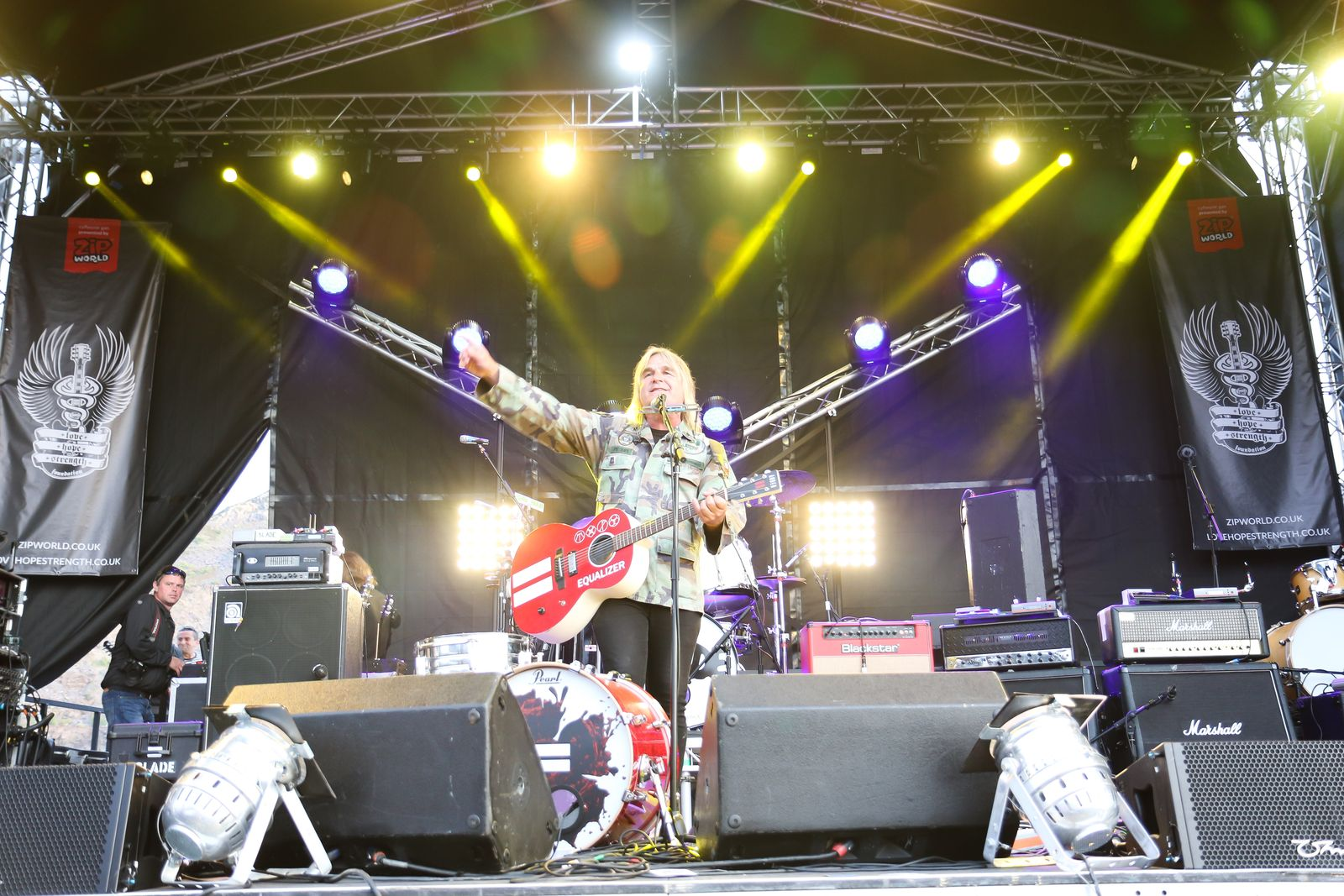 Mike Peters on stage at Zip World Rocks