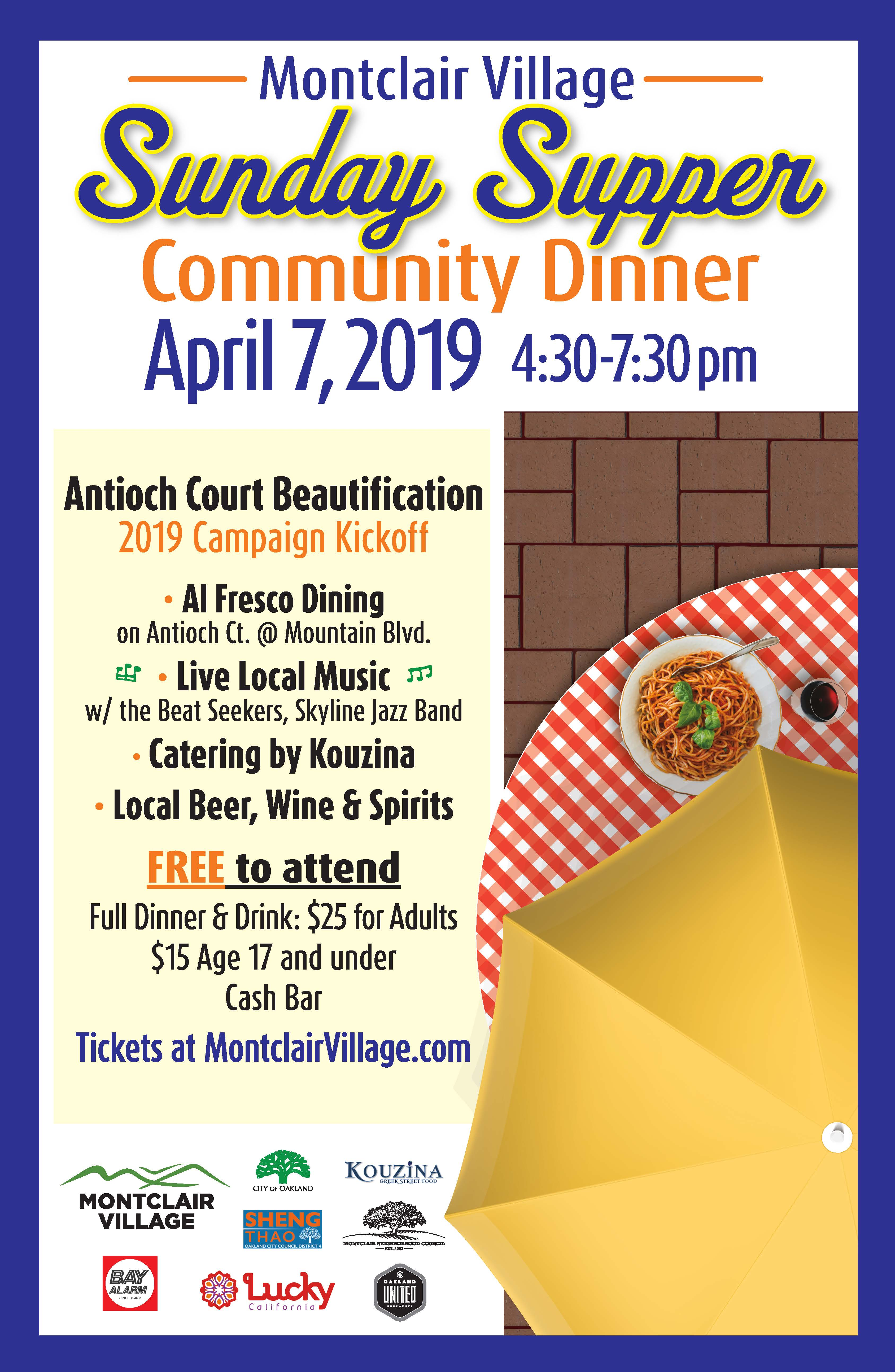 Join us for a community dinner on April 7