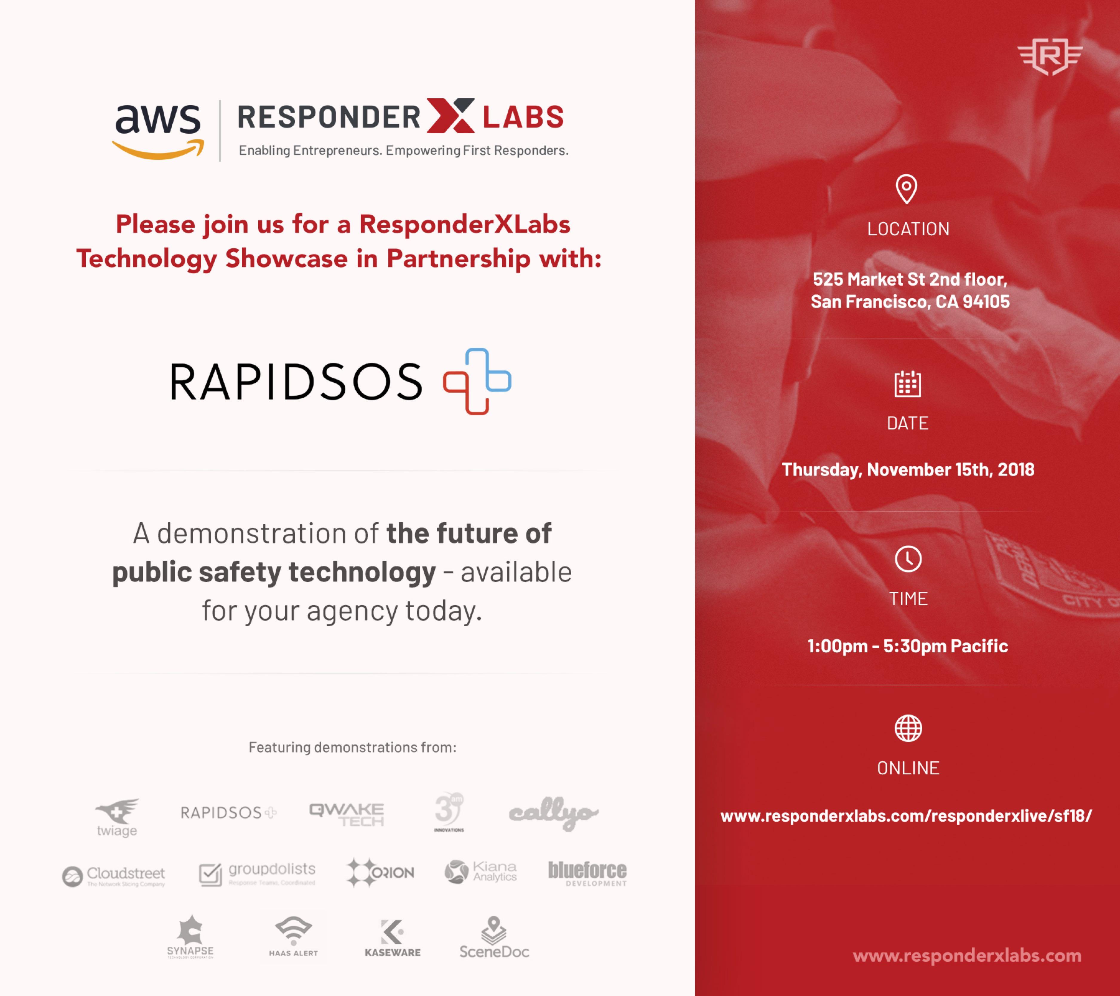ResponderXLive '18 Technology Showcase in San Francisco