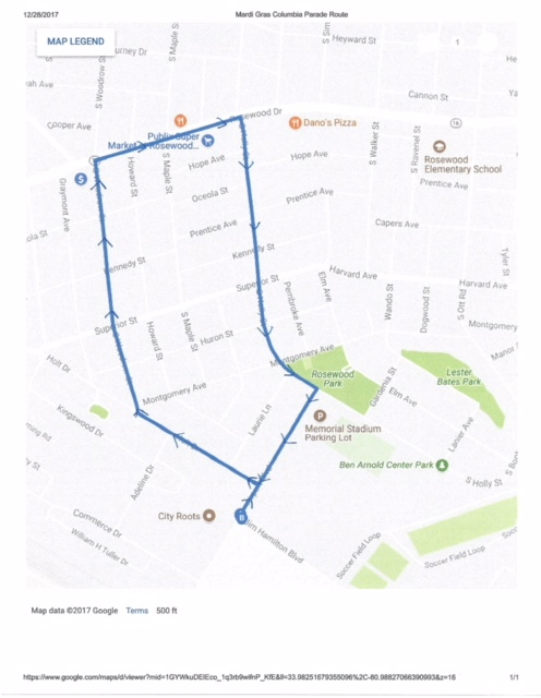 Google Maps image of Mardi Gras Columbia 2019 parade route