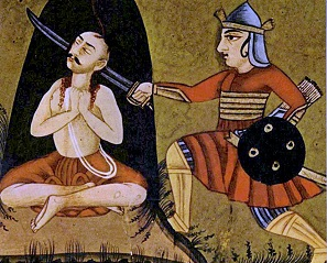 a yogi meditating at the moment of death as narrated in the Mahabharata