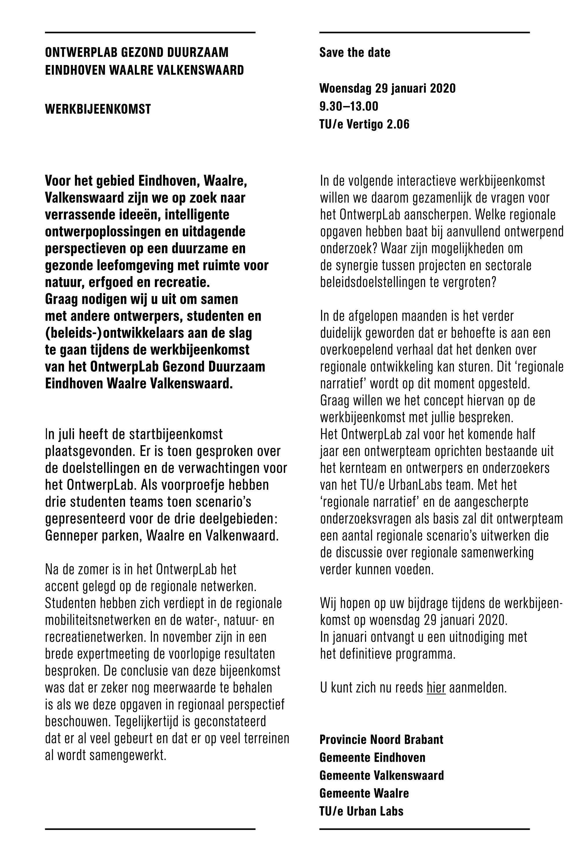 Uitnodiging Gezond duurzaam Eindhoven Waalre Valkenswaard