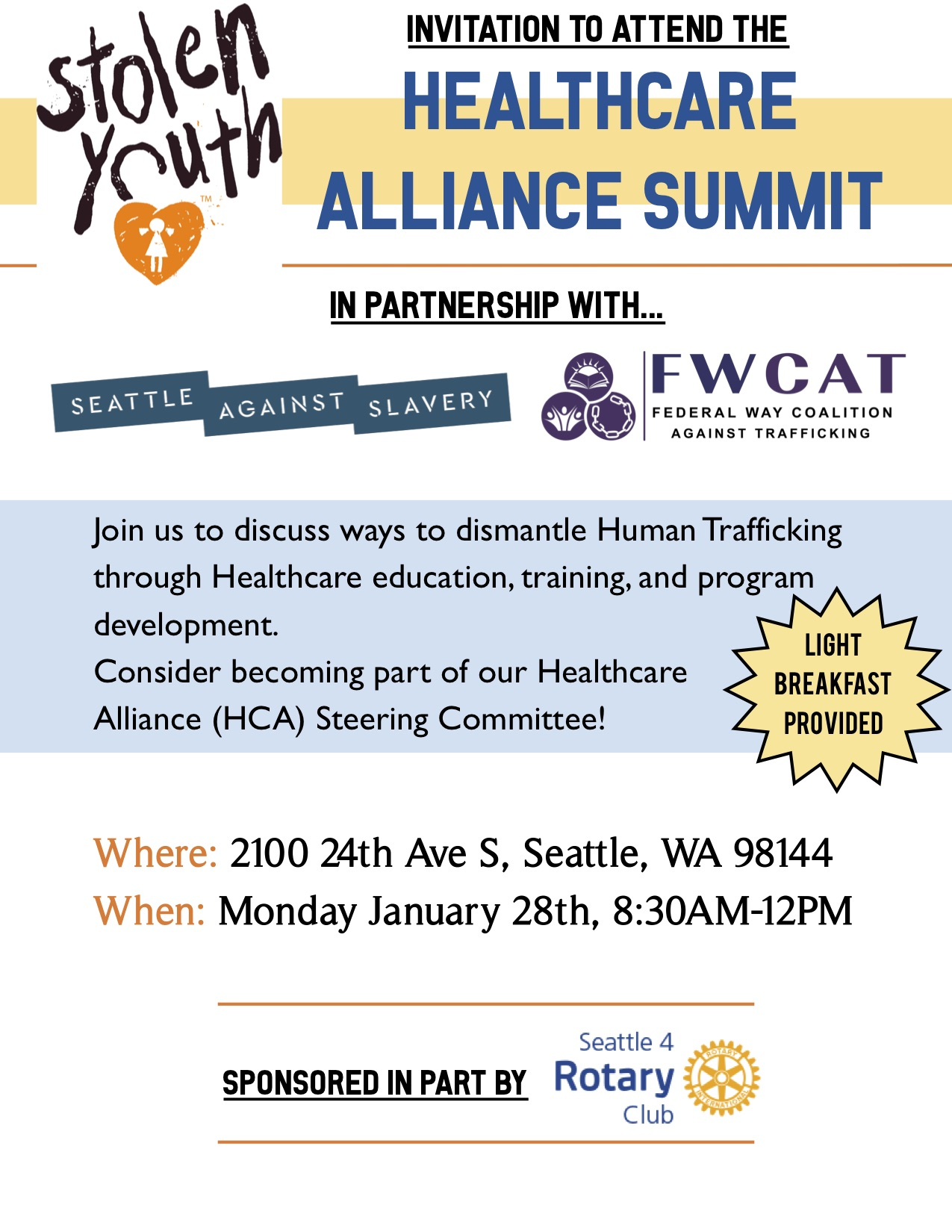Join us to discuss ways to dismantle Human Trafficking through healthcare education, training, and program development. Become part of our Healthcare Alliance Advisory Steering Committee. Light breakfast provided.