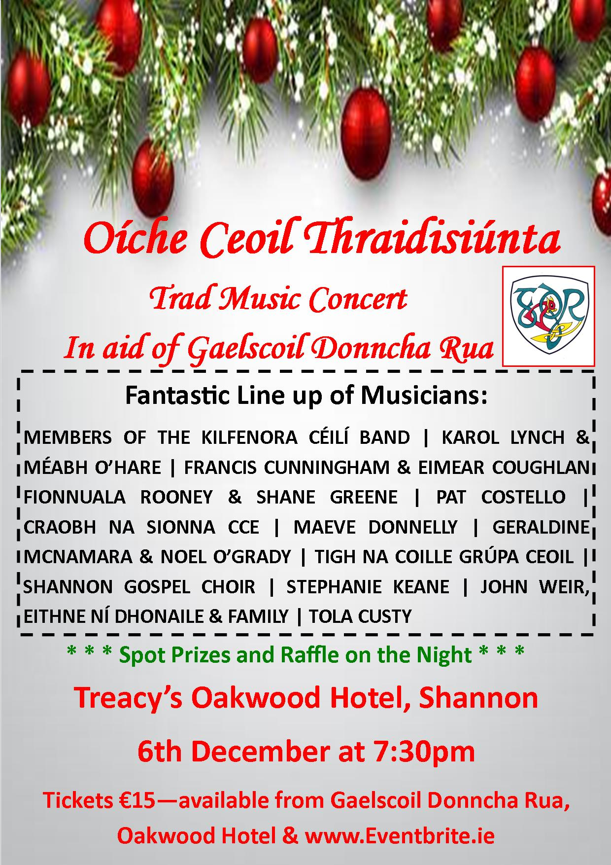 Trad night posted and musician line up