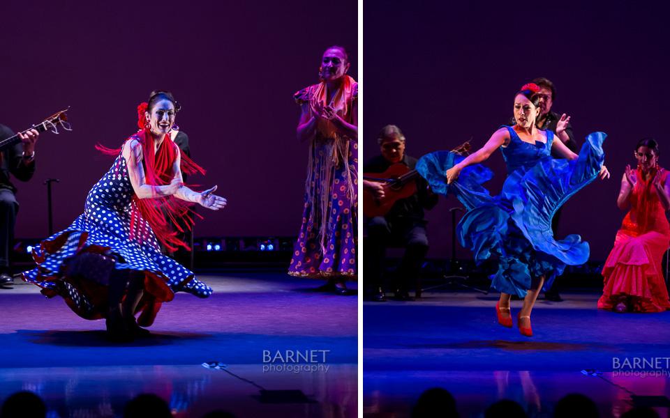 Mirta Barnet is on the left dancing bulerias and Mirtha Zoe is dancing Solea
