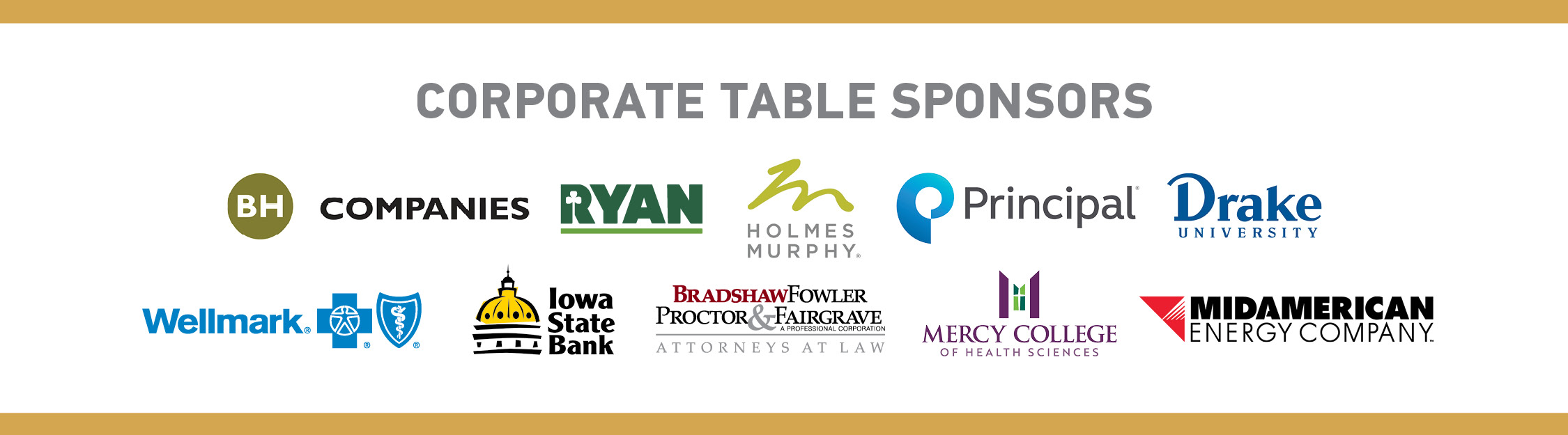 Corporate table sponsors