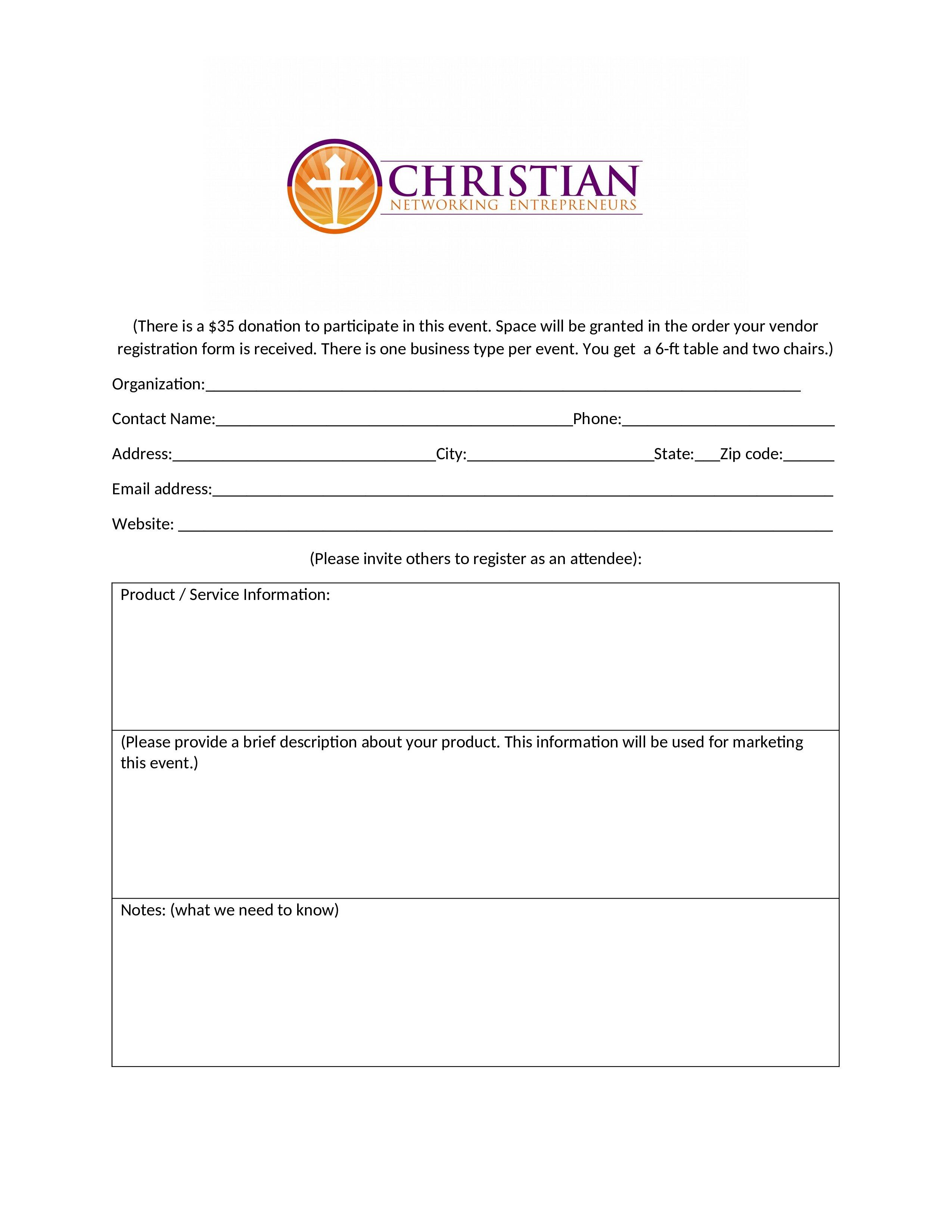 CNE Vendor Registration Form