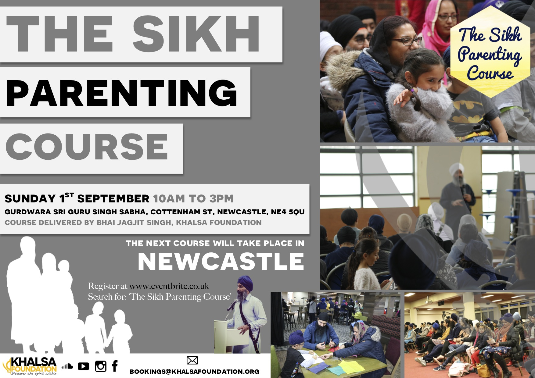 Poster for Sikh Family Course in Newcastle on September 1st 2019