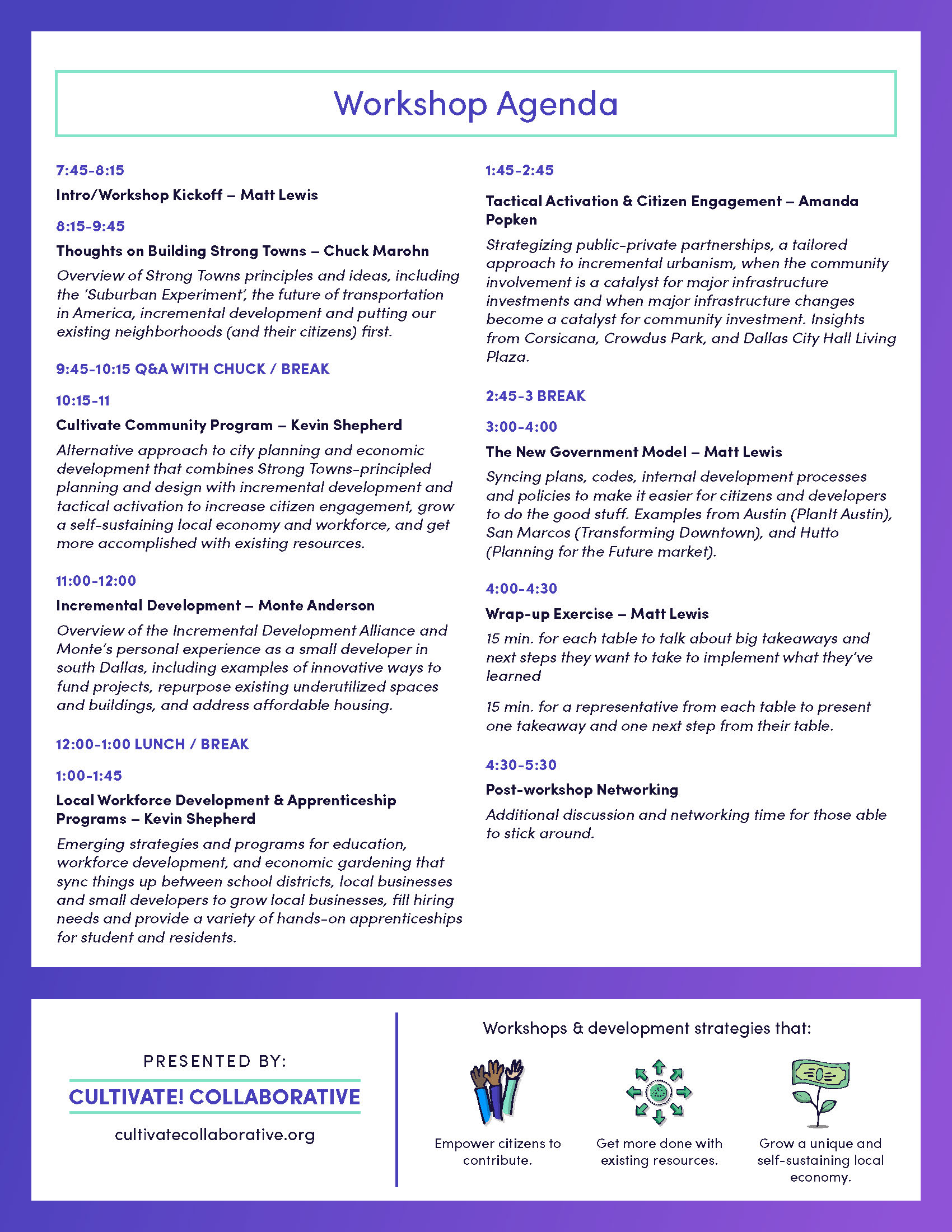 Cultivating Strong Towns Workshop - Flyer Pg 2