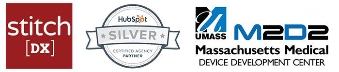 StitchDX logo, HubSpot silver certified partner logo, and m2d2 logo