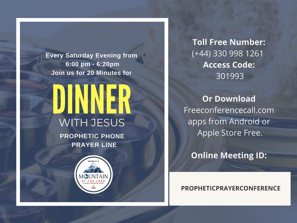 SATURDAY - PROPHETIC PHONE CONFERENCE PRAYER LINE - 30 MAR 2019