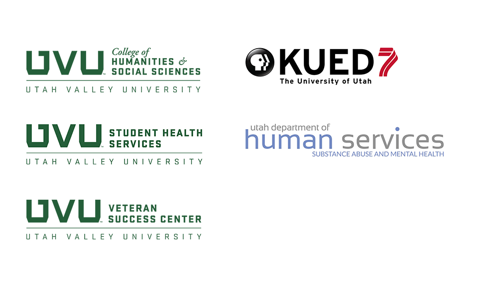 UVU College of Humanities & Social Sciences, Veteran Success Center, Student Health Services, KUED 7, and Department of Human Services logos