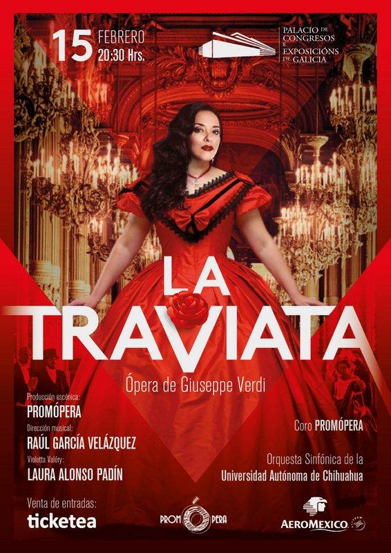 Cartel de La Traviata en Santiago de Compostela