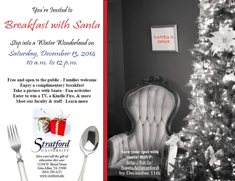 Breakfast with Santa: Saturday, December 13th at Stratford University