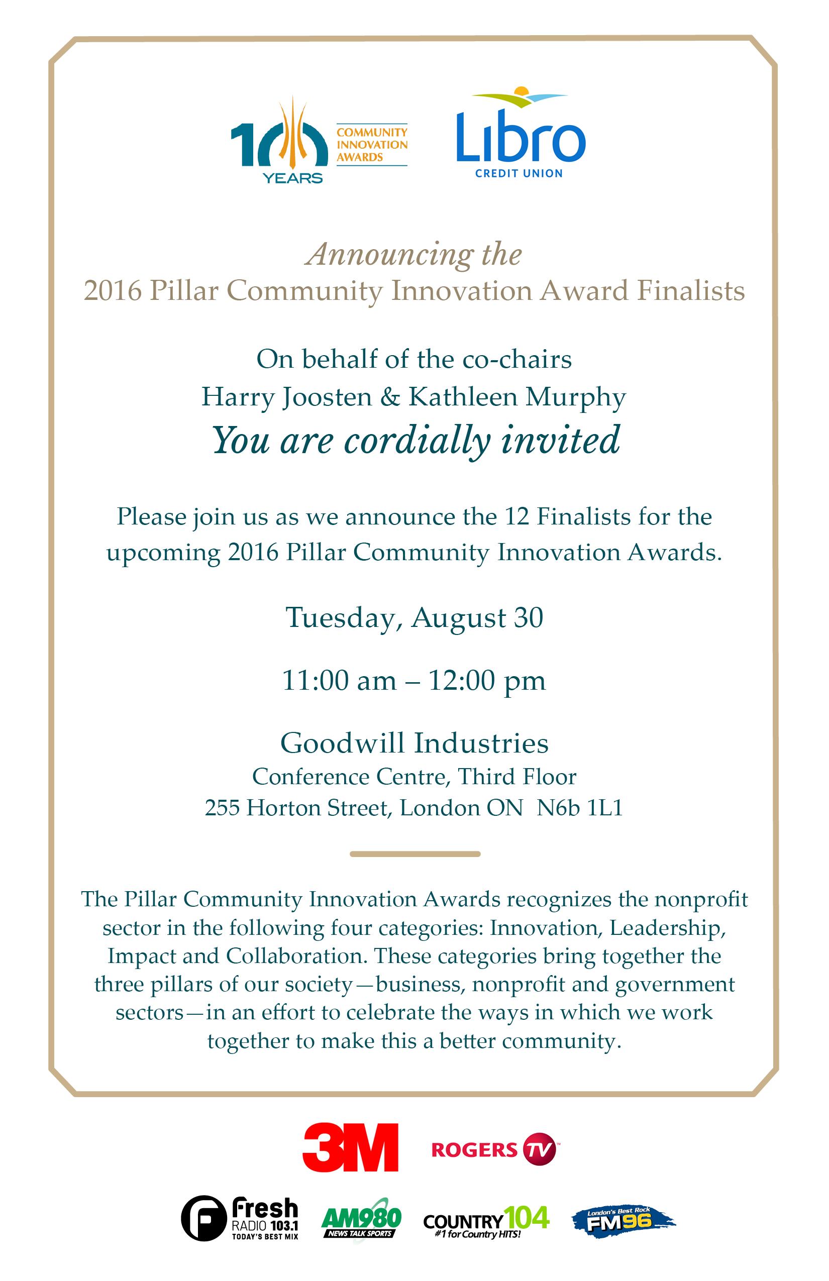 Community Innovation Award Finalists invitation
