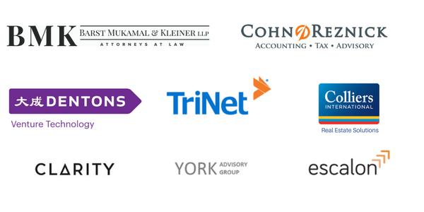 BMK, Dentons, CohnReznick, Trinet, Colliers, Clarity PR, York Advisory Group, Escalon Services