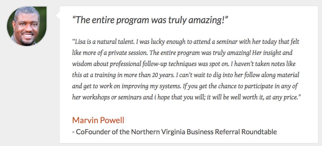 Marvin Powell Testimonial