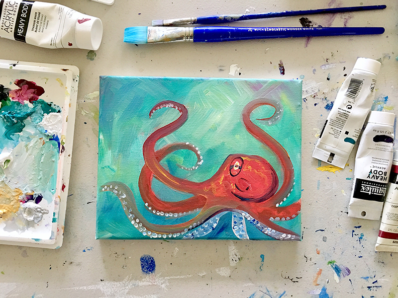 octopus paint night santa cruz april 2019