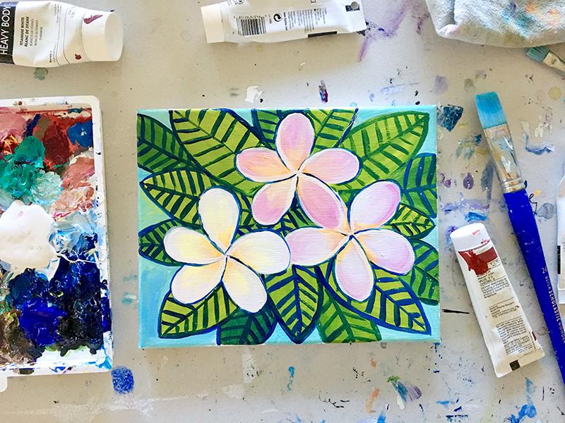 plumeria floral paint night santa cruz may 13