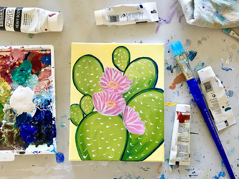 cactus flower paint night santa cruz april 15