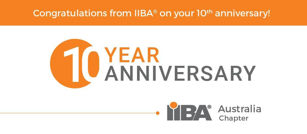 IIBA Ausralian Chapter celebrates 10 years in 2019