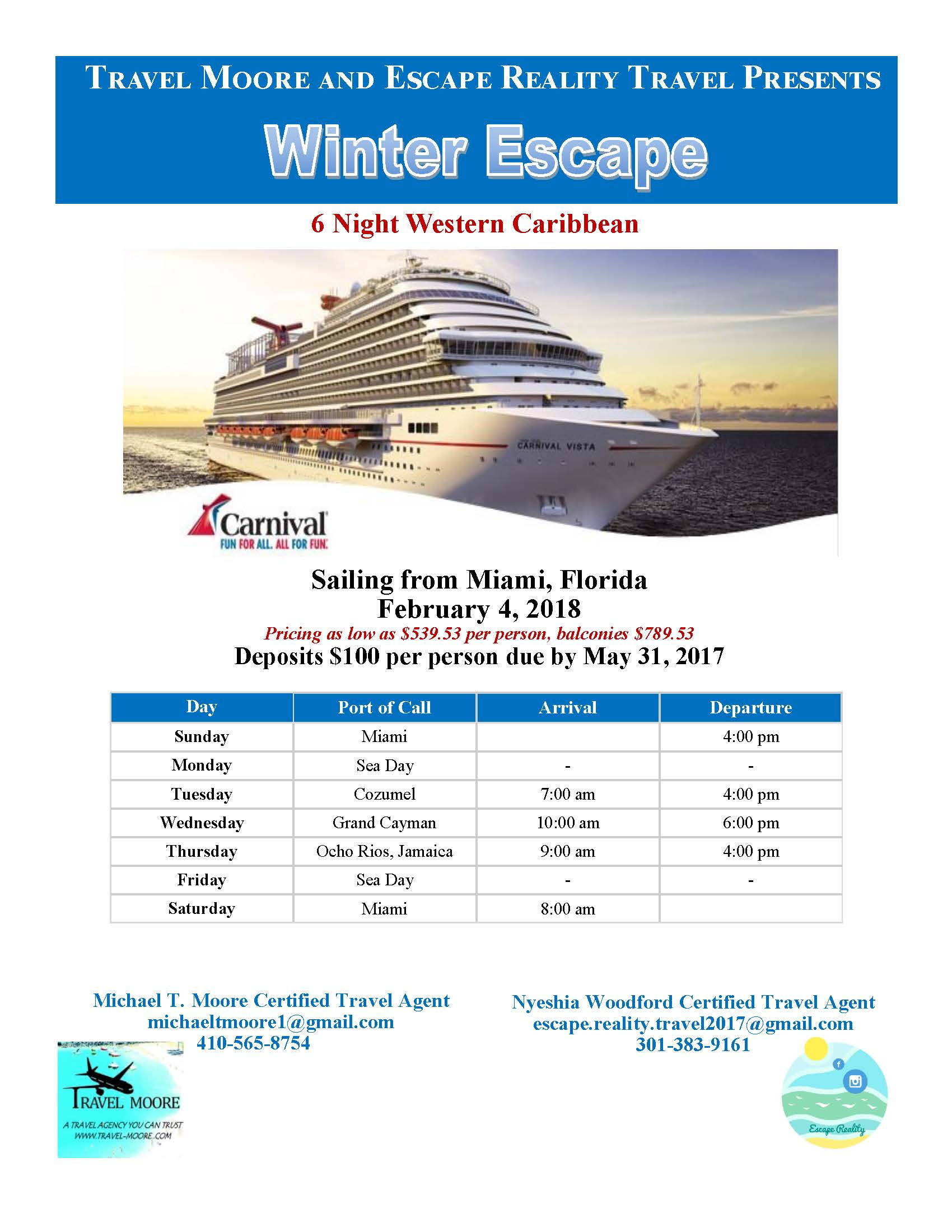 Winter Escape Cruise 2018 Tickets Sun Feb 4 2018 At 12