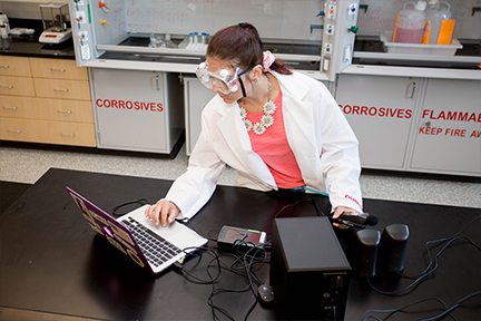 Woman working on labtop