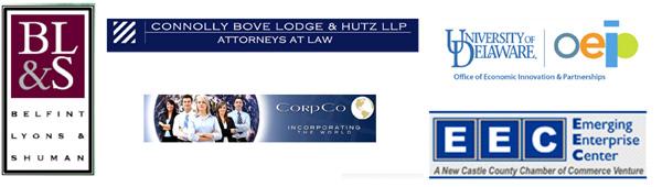 sponsor logos - Connolly Bove Lodge & Hutz; Belfint, Lyons & Shuman; CorpCo; NCCCC Emerging Enterprise Center; University of Delaware OEIP