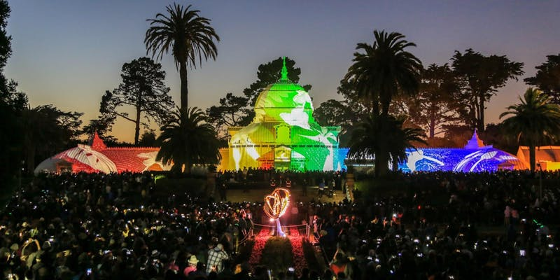 The Conservatory of Flowers, lighted for the Summer Solstice