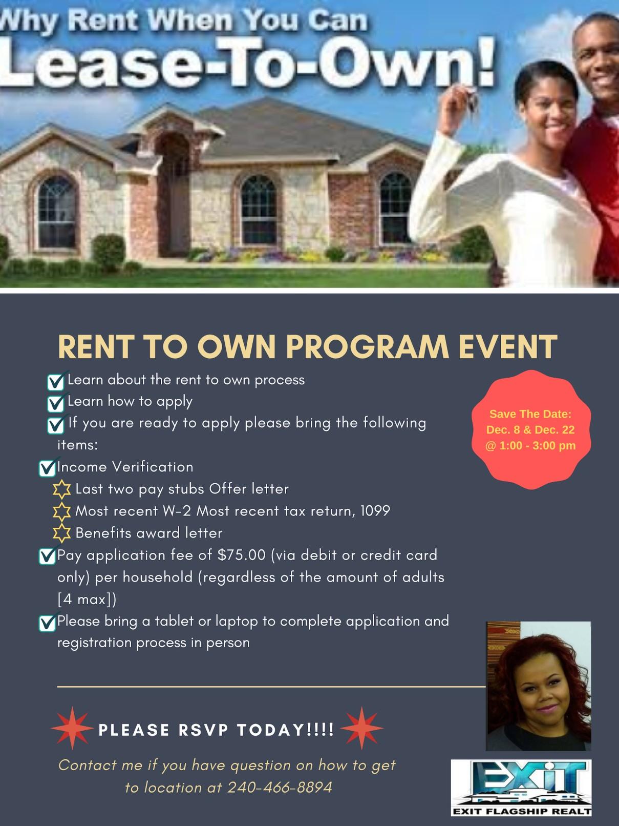 rent to own program event tickets multiple dates eventbrite