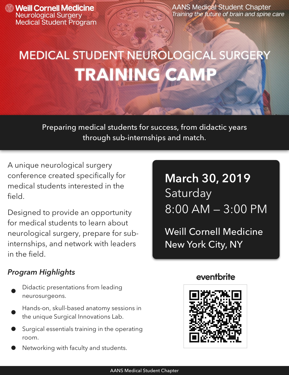 Medical Student Neurosurgery Training Camp 2019 - 30 MAR 2019