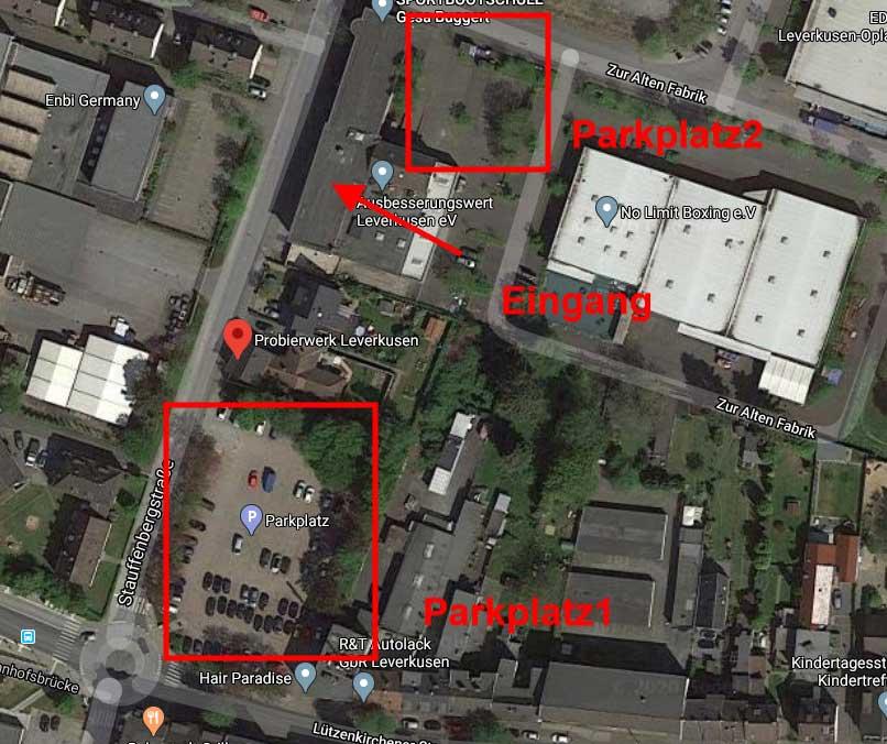 Parkmöglichkeiten im Probierwerk