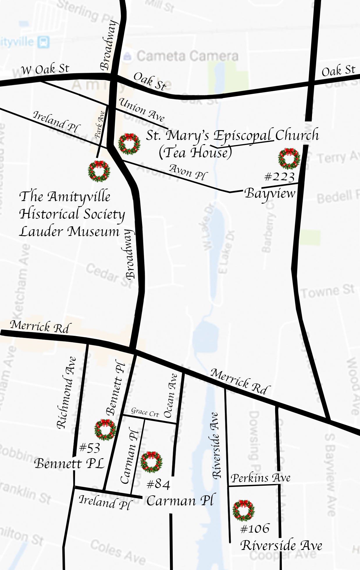 Amityville Holiday Homes Tour Map 2019