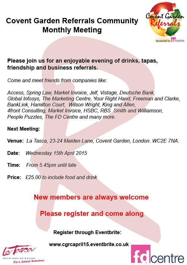 Covent Garden Referrals Club April 15 at La Tasca | 15 April | London