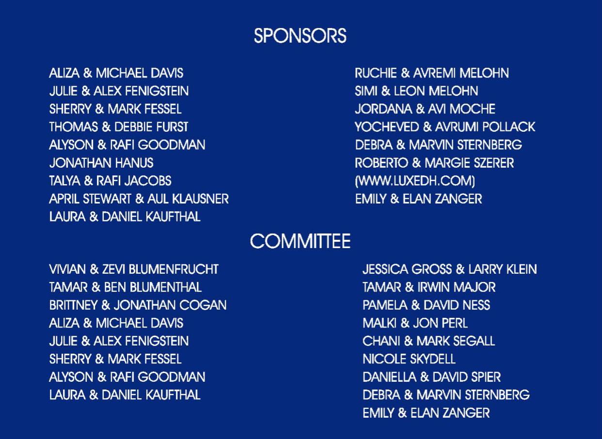 Oneg Committe & Sponsors 2016