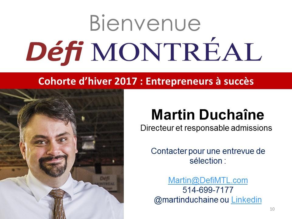Admission Défi Montréal avec Martin Duchaine