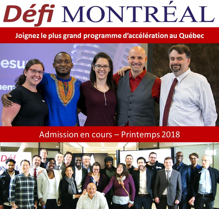 Admissions Défi Montréal - Printemps 2018